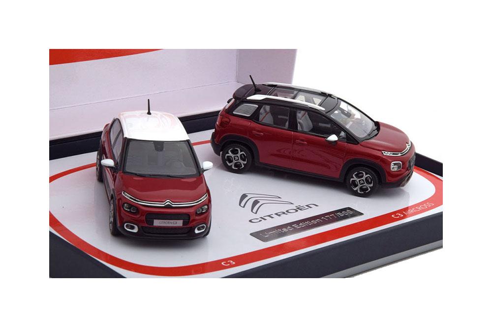 NOREV 155329 1 43 Citroen c3 & c3 Aircross 2017 rouge (Set of 2 models)