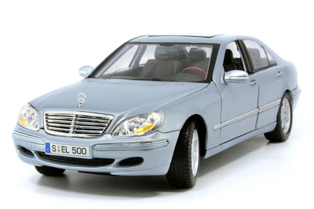 MERCEDES W220 S500 FACELIFT 2001 LIGHT BLUE/SILVER - MODELLISIMO COM