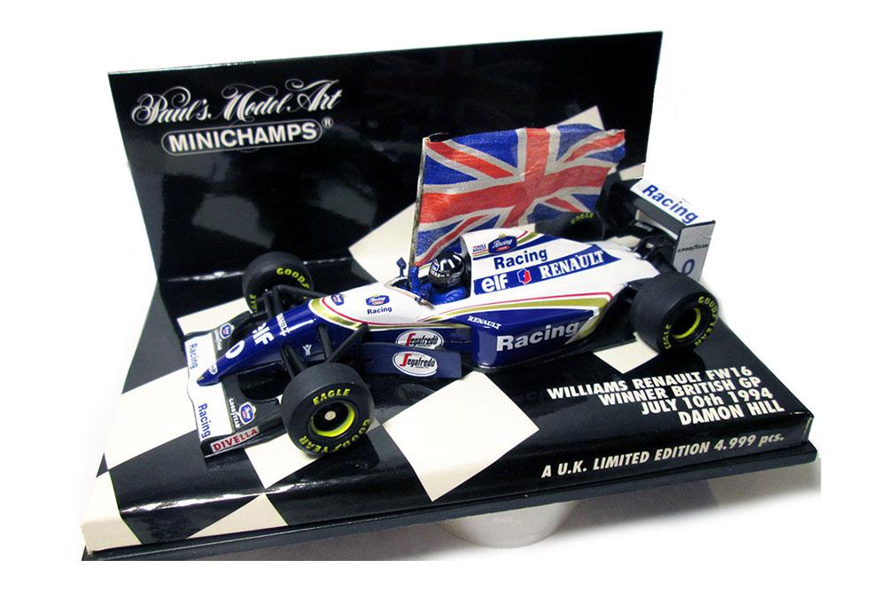 Minichamps 433940101 1 43 Williams FW16 D. HILL  BRITISH GP 1994 Winner W. Flag  0  service de première classe