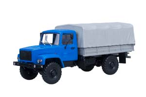 GAZ 3308 4x4 (ZMZ 513 ENGINE) ON BOARD WITH THE TENT (BLUE) (USSR RUSSIAN CAR)   ГАЗ 3308 4x4 (ДВИГАТЕЛЬ ЗМЗ-513) БОРТОВОЙ С ТЕНТОМ (СИНИЙ)