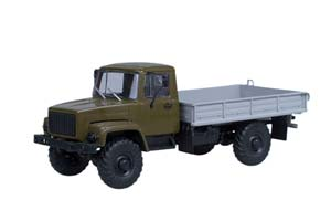 GAZ 3308 4x4 (ZMZ 513 ENGINE) ON BOARD (KHAKI) (LIGHT MASKING ON HEADINGS) (USSR RUSSIAN CAR)   ГАЗ 3308 4x4 (ДВИГАТЕЛЬ ЗМЗ-513) БОРТОВОЙ (ХАКИ) (СВЕТОМАСКИРОВКА НА ФАРАХ)