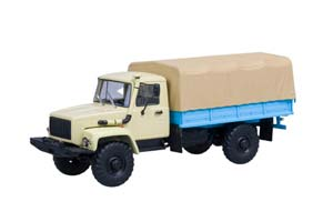 GAZ 33081 4x4 (ENGINE D-245.7 DIESEL TURBO) WITH TENT (BEIGE) (USSR RUSSIAN CAR)   ГАЗ 33081 4x4 (ДВИГ. Д-245.7 DIESEL TURBO) С ТЕНТОМ (БЕЖЕВЫЙ)