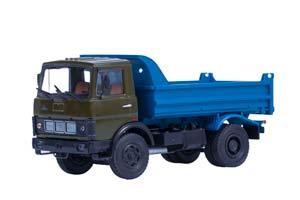 MAZ 5551 DUMP TRUCK (EARLY CABIN) KHAKI/BLUE 1988 (METAL. FRAME RETAINED CAB) (USSR RUSSIAN)   МАЗ 5551 САМОСВАЛ (РАННЯЯ КАБИНА ХАКИ СИНИЙ) 1988 /МЕТАЛЛ. РАМА ОТКИДЫВАЮЩАЯСЯ КАБИНА/ *МАЗ