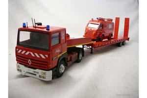 Renault R385ti Fire truck with semitrailer-transport + Renault 1000KG SAPEURS POMPIERS de Marboue 1980
