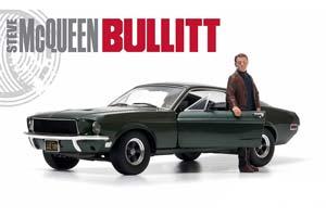 Ford Mustang GT Bullit With Figurine 1968 Dark Green Steve McQueen