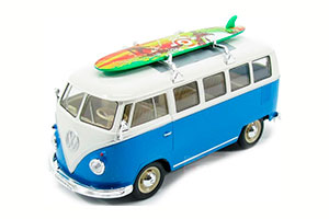 VW VOLKSWAGEN T1 BUS 1962 WITH ROOF SURF, BLUE WITH WHITE *ФОЛЬКСВАГЕН ФОЛЬЦВАГЕН
