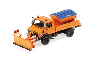 MERCEDES UNIMOG 1300L TIPPER TRUCK WITH SNOW PLOW 1976 ORANGE LIMITED EDITION 1008 PCS.