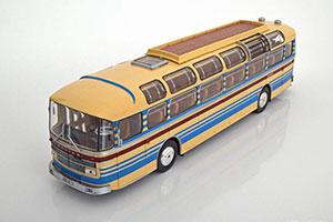 SAVIEM S53M BUS 1970 CREME WITH RED/BLUE STRIPES