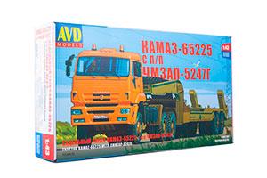MODEL KIT KAMAZ-65225 WITH CHMZAP-5247G SEMI-TRAILER (USSR RUSSIAN CAR) | СБОРНАЯ МОДЕЛЬ КАМАЗ-65225 С ПОЛУПРИЦЕПОМ ЧМЗАП-5247Г