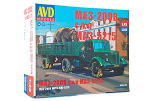 MODEL KIT MAZ-200V WITH MAZ-5215 SEMI-TRAILER (USSR RUSSIAN CAR) | СБОРНАЯ МОДЕЛЬ МАЗ-200В С ПОЛУПРИЦЕПОМ МАЗ-5215