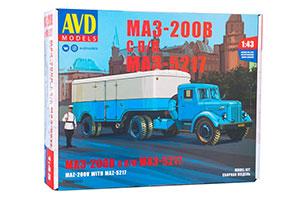 MODEL KIT MAZ-200V WITH MAZ-5217 SEMI-TRAILER (USSR RUSSIAN CAR) | СБОРНАЯ МОДЕЛЬ МАЗ-200В С ПОЛУПРИЦЕПОМ МАЗ-5217