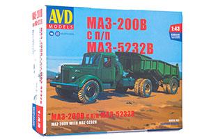 MODEL KIT MAZ-200V WITH MAZ-5232V SEMI-TRAILER (USSR RUSSIAN CAR) | СБОРНАЯ МОДЕЛЬ МАЗ-200В С ПОЛУПРИЦЕПОМ МАЗ-5232В