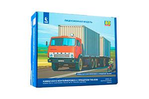 MODEL KIT KAMAZ-53212 CONTAINER TRUCK WITH TRAILER GKB-8350 (USSR RUSSIAN CAR) | СБОРНАЯ МОДЕЛЬ КАМАЗ-53212 КОНТЕЙНЕРОВОЗ С ПРИЦЕПОМ ГКБ-8350