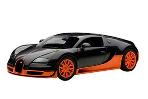 BUGATTI VEYRON 16.4 SUPER SPORT 2010 CARBON BLACK/ORANGE SKIRTS WORLD RECORD LIMITED EDITION 1000