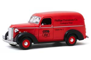 CHEVROLET PANEL TRUCK PHILLIPS PETROLEUM CO. GEOLOGICAL DEPARTMENT 1939 RED/BLACK