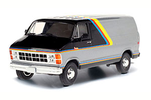 DODGE RAM B250 VAN 1980 SILVER AND BLACK WITH YELLOW RED AND BLUE STRIPES *ДОДЖ