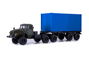 URAL 44202 CONTAINER (USSR RUSSIAN TRUCK) | УРАЛ 44202 КОНТЕЙНЕР (КАБ. ХАКИ\КОНТ. СИНИЙ)