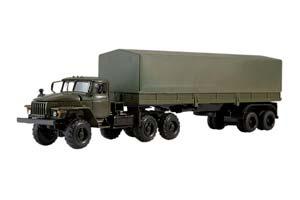 URAL 44202 WITH SEMI-TRAILER (USSR RUSSIA) GREEN | УРАЛ 44202 С ПОЛУПРИЦЕПОМ ТЕНТ (ХАКИ)