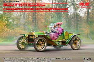 MODEL KIT MODEL T 1913 SPEEDSTER WITH AMERICAN MOTORS   MODEL T 1913 SPEEDSTER С АМЕРИКАНСКИМИ АВТОСПОРТСМЕНАМИ *СБОРНАЯ МОДЕЛЬ