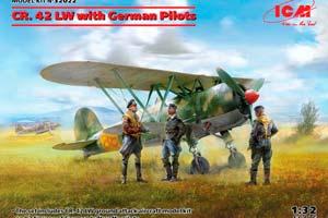 MODEL KIT AIRCRAFT CR. 42 LW WITH GERMAN PILOTS | САМОЛЕТ CR. 42 LW С НЕМЕЦКИМИ ПИЛОТАМИ *СБОРНАЯ МОДЕЛЬ