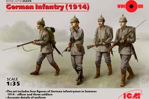 MODEL KIT GERMAN INFANTRY (1914) (4 FIGURES)   ГЕРМАНСКАЯ ПЕХОТА (1914 Г.) (4 ФИГУРЫ) *СБОРНАЯ МОДЕЛЬ