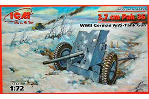MODEL KIT GERMAN ANTI-TANK GUN 3.7 CM PAK 36 | НЕМЕЦКАЯ ПРОТИВОТАНКОВАЯ ПУШКА 3.7 СМ PAK 36 *СБОРНАЯ МОДЕЛЬ