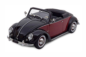 VW 1200 HEBMÜLLER CONVERTIBLE WITH REMOVABLE SOFTTOP 1949 BLACK DARKRED LIMITED EDITION 1000 PCS