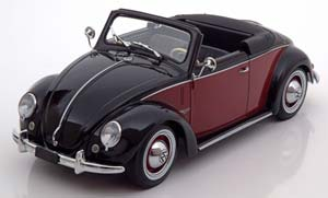 VW Volkswagen 1200 Hebmuller Convertible With Removable Softtop 1949 Black/Dark Red Limited Edition 1000 pcs.