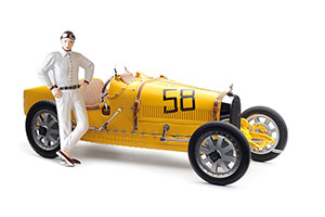 BUGATTI T35 #58 YELLOW LIVERY WITH A FEMALE RACER FIGURINE 1920 LIMITED EDITION 600