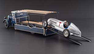 MERCEDES RACING CAR TRANSPORTER LO 2750 1934 + MERCEDES W25 T-CAR 1934 SILVER LIMITED EDITION 1000 PCS.