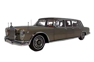 MERCEDES W100 600 PULLMAN (6-DOORS) LIMOUSINE WITH SUNROOF 1960-1970 BLACK *BENZ BENC МЕРСЕДЕС БЕНС МЕРСИДЕС МЕРСЕДЕЗ БЕНЦ