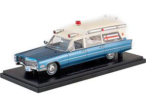 CADILLAC S&S HIGH TOP AMBULANCE 1966 METALLIC BLUE/WHITE