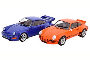 PORSCHE 911 RSR UND 911 (964) RS SET WITH 2 MODELCARS ORANGE BLACK AND BLUE