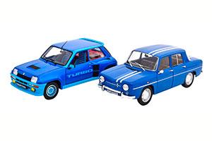 RENAULT R5 TURBO UND R8 GORDINI 1100 SET WITH 2 MODELCARS BLUE LIGHTBLUE AND BLUE WHITE