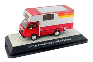 VW T3A FLATBED PLATFORM TRAILER RED/SILVER TISCHER-CAMPING WITH ABNEHMBAREN SUPERSTRUCTURE *ФОЛЬКСВАГЕН ФОЛЬЦВАГЕН