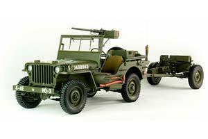 JEEP WILLYS 4Х4 WITG CANNON USA 1943 OLIVE GREEN | JEEP WILLYS С ПРИЦЕПОМ И ПРОТИВОТАНКОВОЙ ПУШКОЙ *ДЖИП