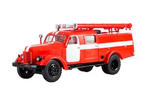ZIL-164 PMZ-17A FIRE TRUCK (USSR RUSSIAN CAR) RED | ЗИЛ-164 ПМЗ-17А С БЕЛЫМИ ПОЛОСАМИ