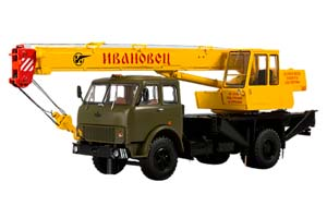 MAZ 5334 CRANE KS-3577 DARK GREEN/YELLOW (USSR RUSSIA TRUCK) | МАЗ-5334 АВТОКРАН КС-3577 ИВАНОВЕЦ *МАЗ