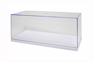 SHOWCASE ACRYLIC BOX FOR 1:18 MODELS 2020 | ВИТРИНА (ПРОЗРАЧНЫЙ БОКС) С БЕЛОЙ ПОДСТАВКОЙ 27X12,5X11,2 СМ ДЛЯ МОДЕЛЕЙ 1:18 *ВИТРИНА БОКС