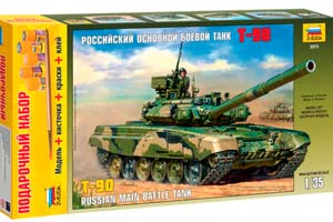 MODEL KIT RUSSIAN BASIC COMBAT PANZER T-90 WITH ADHESIVE BRUSH AND PAINTS. | РОССИЙСКИЙ ОСНОВНОЙ БОЕВОЙ ТАНК Т-90 С КЛЕЕМ КИСТОЧКОЙ И КРАСКАМИ.