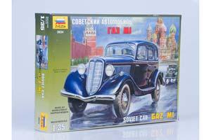 MODEL KIT SOVIET CAR GAZ M1   СБОРНАЯ МОДЕЛЬ - СОВЕТСКИЙ АВТОМОБИЛЬ ГАЗ М1 *СБОРНАЯ МОДЕЛЬ