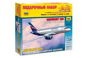 MODEL KIT REGIONAL PASSENGER AIRLINER SUPERJET 100 WITH ADHESIVE BRUSH AND PAINTS. | РЕГИОНАЛЬНЫЙ ПАССАЖИРСКИЙ АВИАЛАЙНЕР SUPERJET 100 С КЛЕЕМ КИСТОЧКОЙ И КРАСКАМИ.