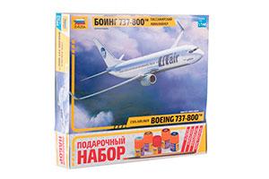 MODEL KIT BOEING 737-800 PASSENGER AIRLINER WITH GLUE, BRUSH AND PAINTS | ПАССАЖИРСКИЙ АВИАЛАЙНЕР БОИНГ 737-800 С КЛЕЕМ, КИСТОЧКОЙ И КРАСКАМИ