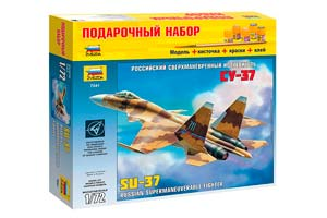 MODEL KIT RUSSIAN SUPERMANEUVERABLE FIGHTER SU-37 WITH GLUE BRUSH AND PAINT | РОССИЙСКИЙ СВЕРХМАНЕВРЕННЫЙ ИСТРЕБИТЕЛЬ СУ-37 С КЛЕЕМ КИСТОЧКОЙ И КРАСКАМИ